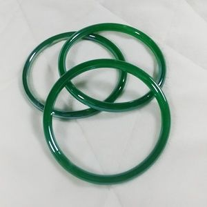 Set of 3 Vintage Glass Bangles Green